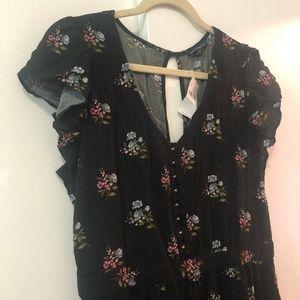 Floral Maxi Dress With Peekaboo Trim, Keyhole Back